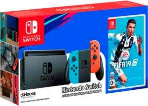 Игровая приставка Nintendo Switch «неоновый красный/неоновый синий» + Fifa 19