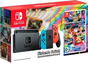 Игровая приставка Nintendo Switch «неоновый красный/неоновый синий» Обновленная версия + Mario Kart 8 Deluxe