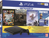 Игровая приставка Sony PlayStation 4 Slim 1TB + Grand Theft Auto V: Premium Edition + Horizon Zero Dawn. Complete Edition + Жизнь После + Fortnite: Neo Versa + PS Plus 3 Месяца