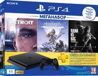 Игровая приставка Sony PlayStation 4 Slim 1TB + Detroit: Стать человеком + Horizon Zero Dawn. Complete Edition + Одни из нас. Обновленная версия + PS Plus 3 Месяца
