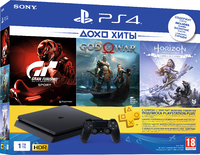 Игровая приставка Sony PlayStation 4 Slim 1TB + Gran Turismo Sport + God Of War + Horizon Zero Dawn + PS Plus 3 Месяца