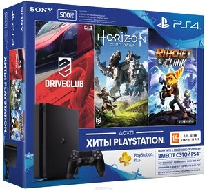 PlayStation 4 Slim 500Gb + DriveClub + Horizon Zero Dawn + Ratchet & Clank + PS Plus 3 месяца