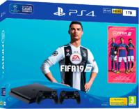 Игровая приставка Sony PlayStation 4 Slim 1TB + 2-ой джойстик DualShock 4 + FIFA 19