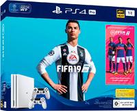Игровая приставка Sony PlayStation 4 Pro 1TB «Белый Цвет» + 2-ой джойстик DualShock 4 + Fifa 19