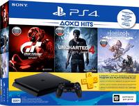 PlayStation 4 Slim 500Gb Ростест + Horizon Zero Dawn + Gran Turismo Sport + Uncharted 4 + PS Plus 3 месяца