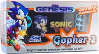 Игровая приставка Sega Genesis Gopher 2 «Голубой Цвет» + 500 встроенных игр