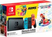 Nintendo Switch NeonRed/NeonBlue + Mario Kart 8 Deluxe + ARMS